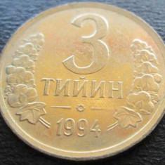 Monede Straine - (1021) UZBEKISTAN 3 TIYIN 1994 PLACATA CU AUR