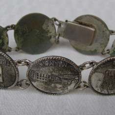 Bratara argint, Unisex - Bratara veche suedeza
