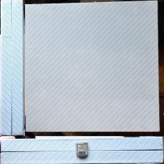 2 cutii pentru pastrat plachete, din plus si lemn exotic, deosebite