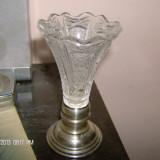 Vaza cristal cu talpa argint, Vas
