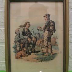 PASTORI ODIHNINDU-SE, veche REPRODUCERE LITOGRAFICA inramata, sticla protectie / tablou / litografie