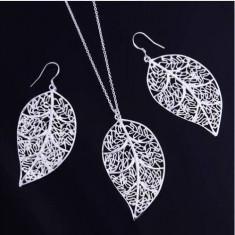 Set bijuterii (colier + cercei), argint 925 + cutie cadou; 45 cm lantisor - Set bijuterii argint