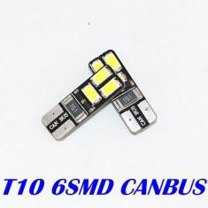 Bec LED T10 W5W 6x 5630 5730 Alb Pur CAN-BUS fara eroare 6000k - Led auto EuropeAsia, Universal