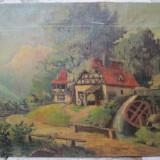 Peisaj cu moara de apa, pictura veche pe panza - Pictor roman
