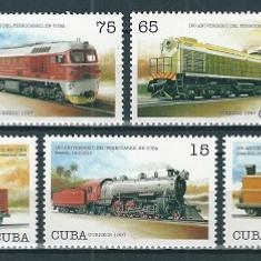 Timbre straine - CUBA 1997 - TRENURI, LOCOMOTIVE - SERIE NESTAMPILATA - MNH (SERIE COMPLETA)
