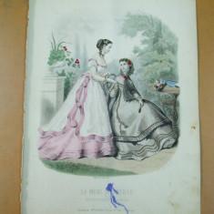 Revista moda - Moda costum evantai rochie gravura color La mode illustree Paris 1867
