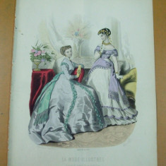 Moda costum rochie evantai gravura color La mode illustree Paris 1867 - Revista moda
