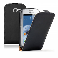 Husa Samsung Galaxy Trend Lite S7390 S7392 Flip Case Inchidere Magnetica Black - Husa Telefon Samsung, Negru, Piele Ecologica, Cu clapeta, Toc