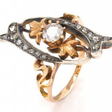 Inel diamant, 46 - 56 - Inel ANTIK cu diamante - argint și aur roz 18K - Gr . 54 - 4, 75g