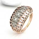 Inel diamant, 46 - 56 - INEL ANTIK CU DIAMANTE ca.0, 25 CRT AUR 14K roșu si alb - 5, 0 g anul 1940..
