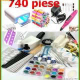 KIT MANICHIURA set Unghii false BeautyUkCosmetics LAMPA UV PILA ELECTRICA 740 PRODUSE