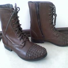 Cizme dama - Botine BAKERS by asos, cizme maro tinte stil rock punk zara bocanci piele naturala, 38, sireturi, noi superbe
