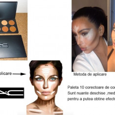 Trusa make up Mac Cosmetics - MAC Trusa machiaj make up paleta profesionala de umbre de conturare si corectoare a fetei 10 corectoare anticearcan blush fond de ten
