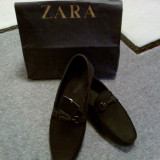 Vand Pantofi ZARA Barbati Model Nou Marime 43 - Pantofi barbati Zara, Marime: 41, Culoare: Negru, Piele naturala