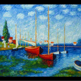 Pictura Claude Monet RED BOATS AT AEGENTEUIL reproducere, Marine