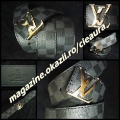 Curea Barbati Louis Vuitton, curea si catarama - CUREA BARBATEASCA FIRMA LOUIS VUITTON PIELE ECOLOGICA CANVAS IMPRIMEU SAH GRI