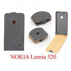 Husa toc Nokia Lumia 520 + folie ecran + expediere gratuita Posta - sell by PHONICA, Negru, Piele Ecologica