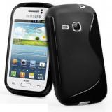 Husa silicon Gel TPU Samsung Galaxy Young 6310, 6312 Young Duos plus folie de protectie - Husa Telefon Samsung, Negru