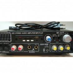 AMPLITUNER 90 WATT, CITITOR MP3 STICK/CARD, RADIO FM, INTRARE 2 MICROFOANE KARAOKE, EGALIZATOR GRAFIC.+BONUS MICROFON . - Amplificator audio, 41-80W