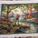 "Tapiterie Goblen - Tablou goblen ""La pescuit"" original traditional lucrat manual, neinramat 30*24"
