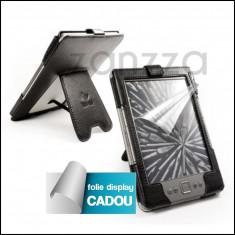 Husa Kindle 4 - 6 inch neagra - Folie display CADOU