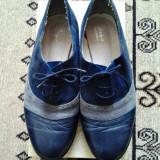 Pantofi dama, Marime: 38, Albastru - Pantofi oxford din piele cu siret