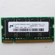 Memorie laptop Micron 256MB PC2100 DDR SODIMM 266 MHz - Memorie RAM laptop