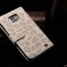 Husa piele SAMSUNG GALAXY S2 / S2 PLUS lux, tip portofel, model leopard, ALB - Husa Telefon Samsung, Piele Ecologica