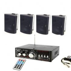 SISTEM SONORIZARE PROFESIONAL COMPUS DIN AMPLIFICATOR CU MP3+4 BOXE PE 3 CAI+MICROFON BONUS.