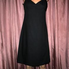 Rochie neagra pe bretele Calvin Klein - Rochie de zi Calvin Klein, Marime: S/M, Culoare: Din imagine, Midi, Cu bretele, Bumbac
