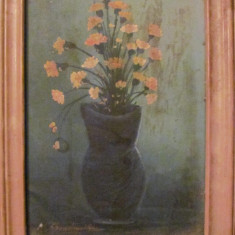 Tablou, Realism - PVM - Vas cu flori ulei pe pinza / semnat indescifrabil 1994