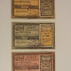 LOT 3 BILETE DE LOTERIE PERIOADA CAROL II - Bilet Loterie Numismatica