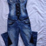 Salopeta mexton cu insertii de piele OFERTA !!! marimea S(36) la 290 lei - Salopeta dama, Culoare: Albastru, Albastru