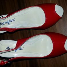 Sandale cu platforma rosii de lac - Sandale dama