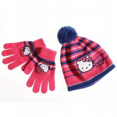 Caciula Copii - Set caciula si manusi - Hello Kitty - roz-albastru