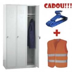 VESTIAR METALIC CU 3 USI, ECO + CADOU!!! (10 buc Umeras vestiar + VESTA SEMNALIZARE)