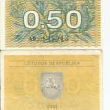 Bancnota Straine, Europa - LL bancnota Lituania 0.50 talonas 1991 (#8913) AUNC