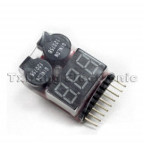 Diagnoza auto - 1-8S Battery Voltage 2IN1 Tester Low Voltage Buzzer Alarm (FS00479)