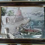 Reproducere - BARCI ANCORATE LA TARM - tablou in relief, cu oglinda si montura de argint