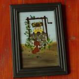 tablou cu rama din lemn - pictura pe sticla !!!