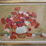 Leonid Elas - Garoafe / Flori - ulei pe panza, pictor clujean - Pictor roman, Natura statica, Impresionism