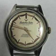 Ceas de mana - MANHATTAN ELECTRA ENERMATIC MAINSPRING - CEAS BARBATESC DE COLECTIE - VINTAGE - ELVETIAN - ANII 1950 - 60 - STARE DE FUNCTIONARE - DIAMETRUL 34 MM