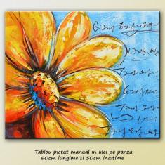 Tablou modern - Floarea soarelui - ulei pe panza 60x50cm, LIVRARE GRATUITA 24-48h - Pictor roman