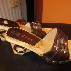 Papuci cu platforma si toc decupat - Papuci dama, Marime: 39, Culoare: Coffee