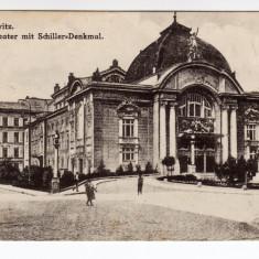 CERNAUTI CZERNOWITZ, BUCOVINA, TEATRUL ORASENESC CU STATUIA SCHILLER - Carti Postale Romania dupa 1918, Necirculata, Printata