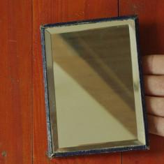 Mobilier - Oglinda de masa cu spate din piele si picior din alama !!!