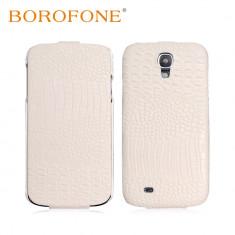 Husa LUX piele BOROFONE SAMSUNG S4 aspect piele crocodil, flip cover, alba - Husa Telefon