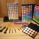 Trusa machiaj profesionala 180 culori MAC + set 12 pensule machiaj make up Bobbi Brown par natural + fond de ten concealer paleta fard farduri - Trusa make up