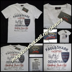 Tricou barbati, Maneca scurta, Bumbac - TRICOU ALB BARBATESC FIRMA PAUL & SHARK made in FRANCE ANCHIOR 100 % BUMBAC