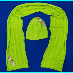 NOU _ Set caciulita + fular fetite, FRUMOS, bumbac, COCCODRILLO _ fete | 52 cm - Caciula Copii, Culoare: Verde, Marime: Marime universala